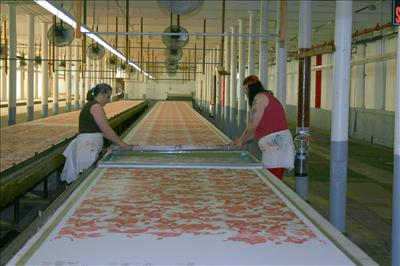 Hand Silk Screen Printed Fabric, Process Using 50 Yard Tables
